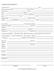 Assisted Living Admission Form