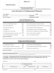 """Juror Excusal or Postponement Request Form"""