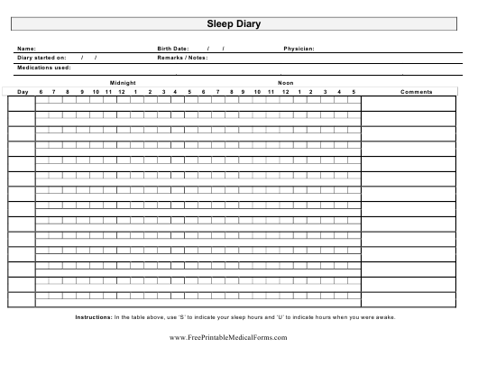 """Sleep Diary Template"" Download Pdf"