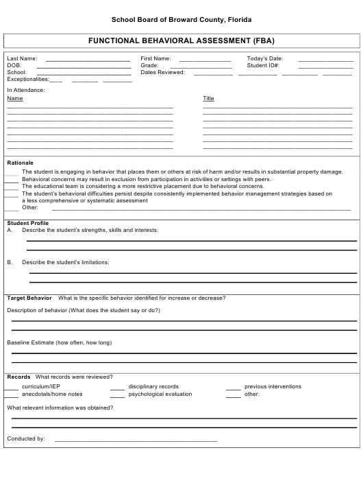 """Functional Behavioral Assessment (Fba) Form"" - Broward County, Florida Download Pdf"