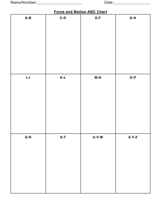 """Force and Motion Abc Chart Template"" Download Pdf"