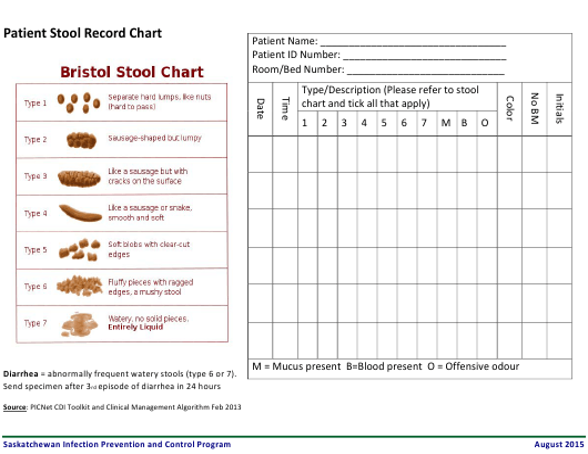 """Patient Stool Record Chart Template - Ehealth Saskatchewan"" - Saskatchewan, Canada Download Pdf"