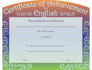 """""""Certificate of Achievement in English Template"""""""