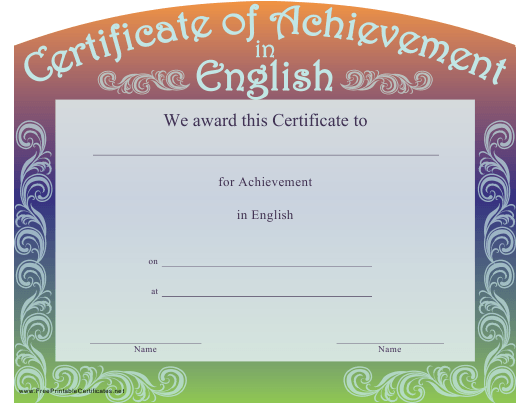 """""""Certificate of Achievement in English Template"""" Download Pdf"""