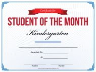 """Student of the Month Certificate Template - Kindergarten"""