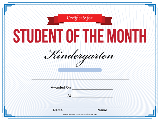 """Student of the Month Certificate Template - Kindergarten"" Download Pdf"