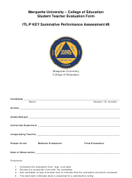 Student Teacher Evaluation Form - Marquette University, College of Education