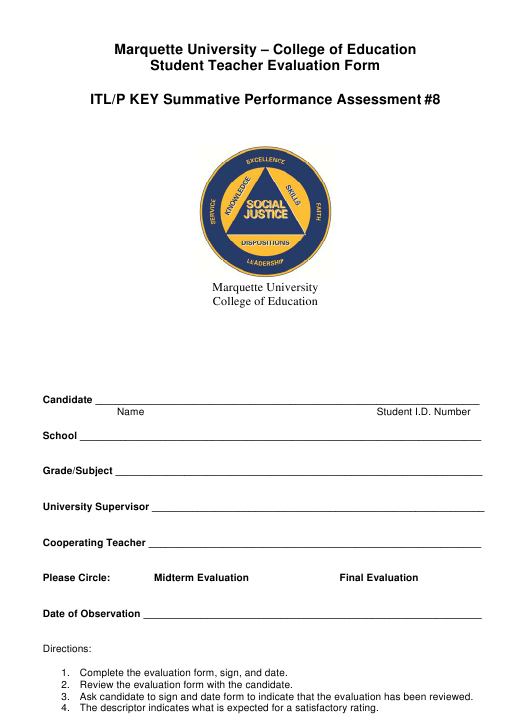 Student Teacher Evaluation Form - Marquette University, College of Education Download Pdf