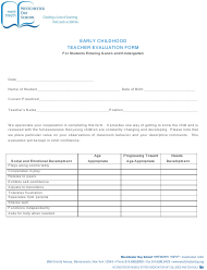 """""""Early Childhood Teacher Evaluation Form for Students - Westchester Day School"""""""