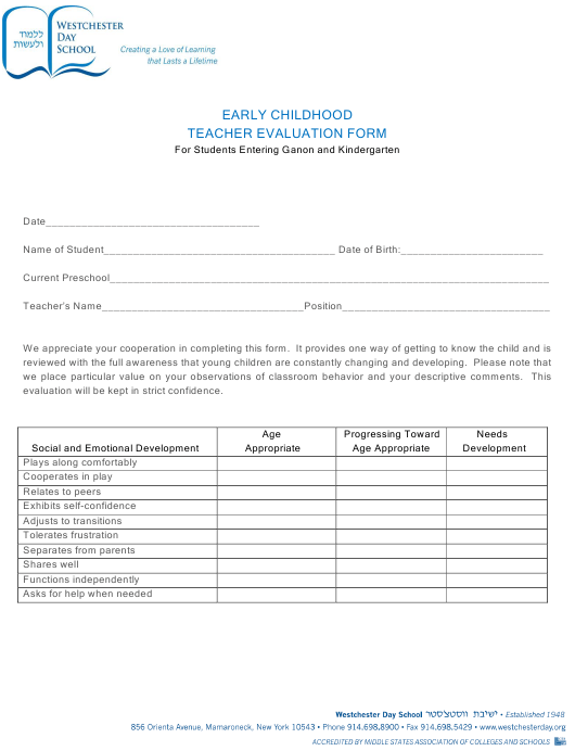 """Early Childhood Teacher Evaluation Form for Students - Westchester Day School"" Download Pdf"