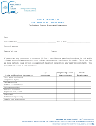 Early Childhood Teacher Evaluation Form for Students - Westchester Day School