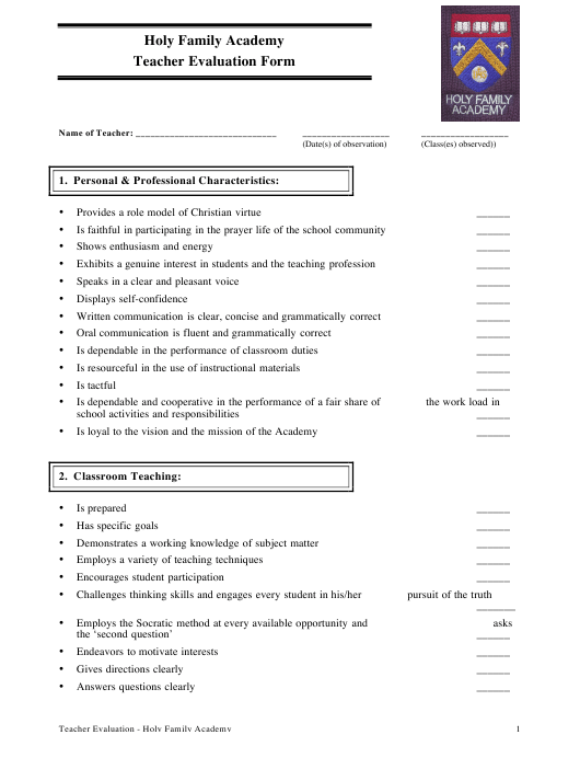 """Teacher Evaluation Form - Holy Family Academy"" Download Pdf"