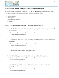"""Parent Evaluation Form - Bayview Community Preschool"""