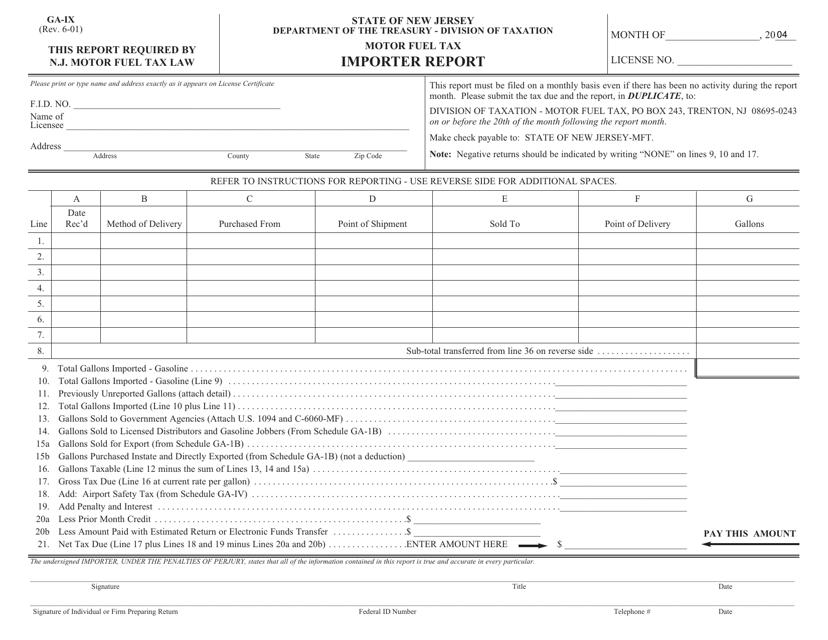 Form GA-IX  Printable Pdf