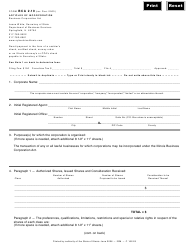 Form BCA 2.10 Articles of Incorporation - Illinois