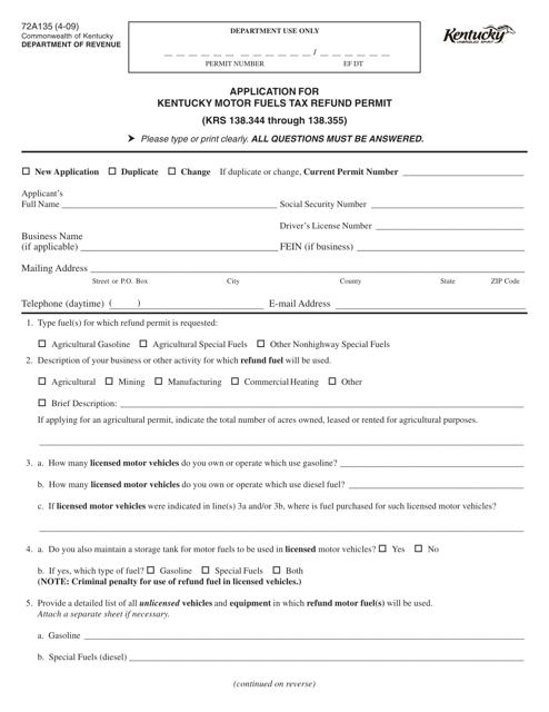 Form 72A135  Printable Pdf
