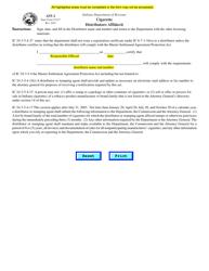 """Form AFF-2 (State Form 51417) """"Cigarette Distributors Affidavit"""" - Indiana"""