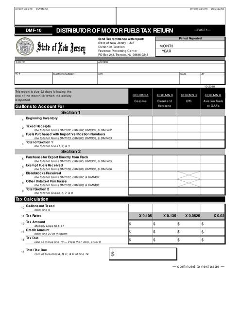 Form DMF-10  Printable Pdf