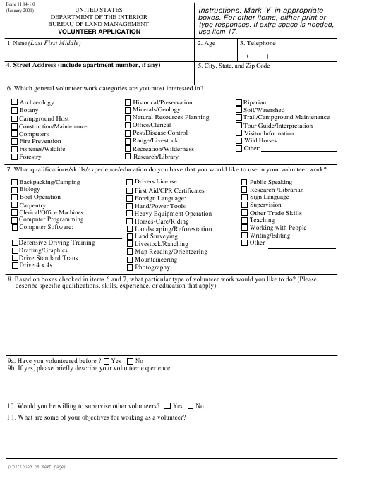 BLM Form 1114-10  Printable Pdf