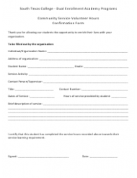 """Student Community Service-Volunteer Hours Confirmation Form"""