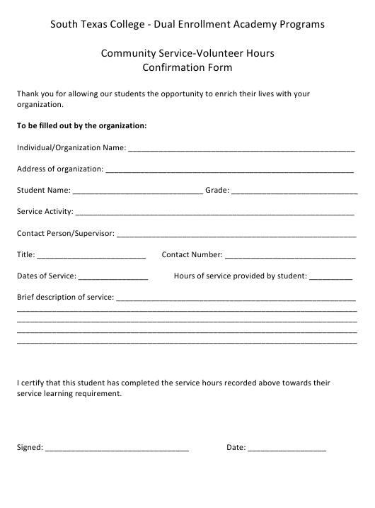 Student Community Service-Volunteer Hours Confirmation Form Download Pdf