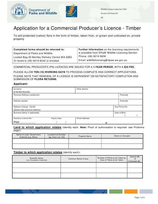 Application Form for a Commercial Producer's Licence - Timber - Western Australia Download Pdf