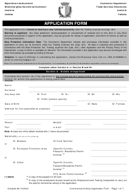 """Application Form for a Commercial Activity"" - Valletta, Malta"