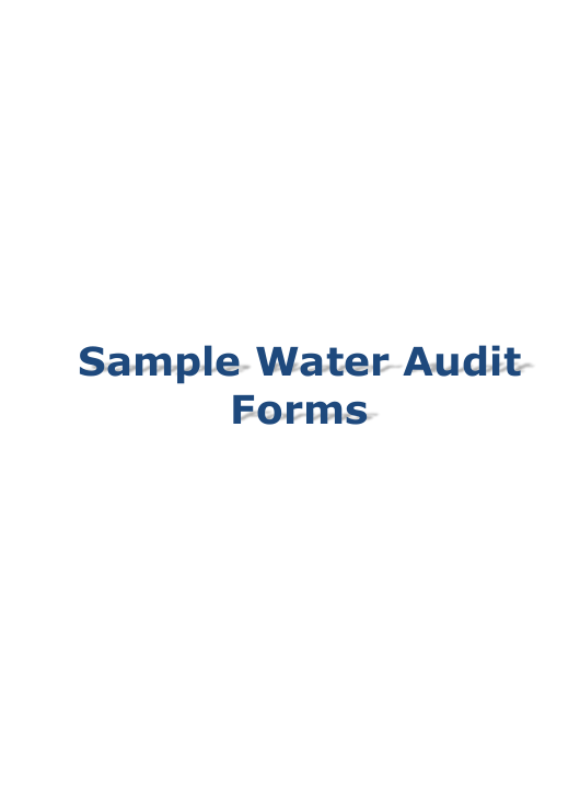 """Sample Water Audit Forms"" Download Pdf"