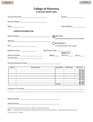 Purchase Order Form - College of Pharmacy