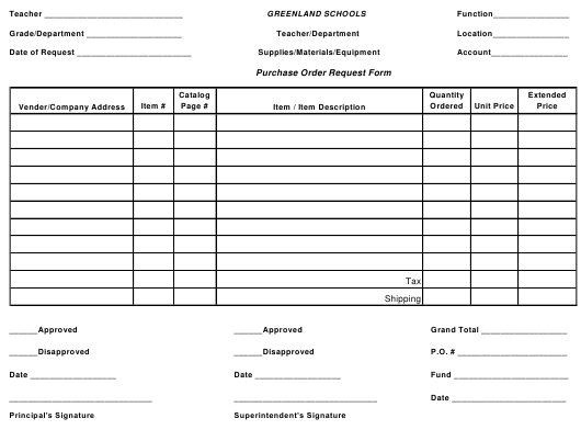 """Purchase Order Request Form - Greenland Schools"" Download Pdf"
