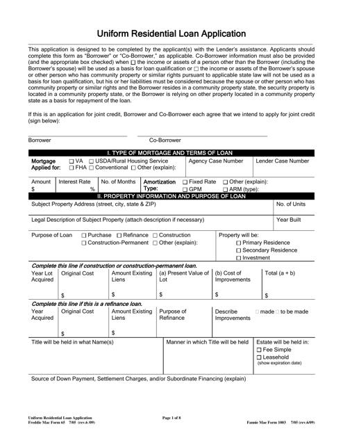 Freddie Mac Form 65 (Fannie Mae Form 1003)  Printable Pdf