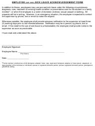 """Employee Sick Leave Acknowledgement Form"""