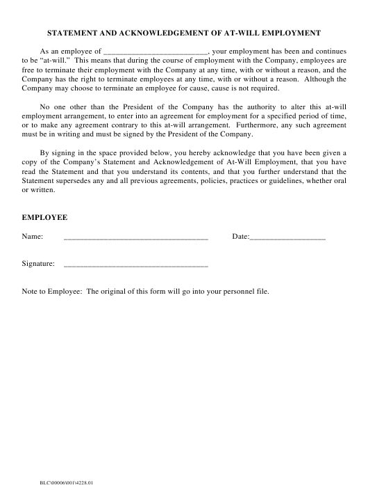 """Statement and Acknowledgement of at-Will Employment"" Download Pdf"