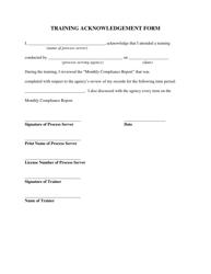 """Training Acknowledgement Form"""