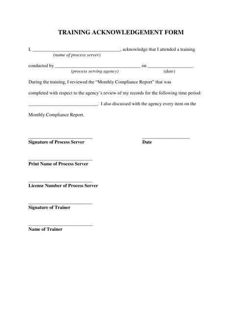Training Acknowledgement Form Download Pdf
