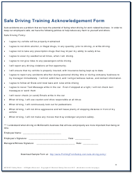 """Safe Driving Training Acknowledgement Form"""