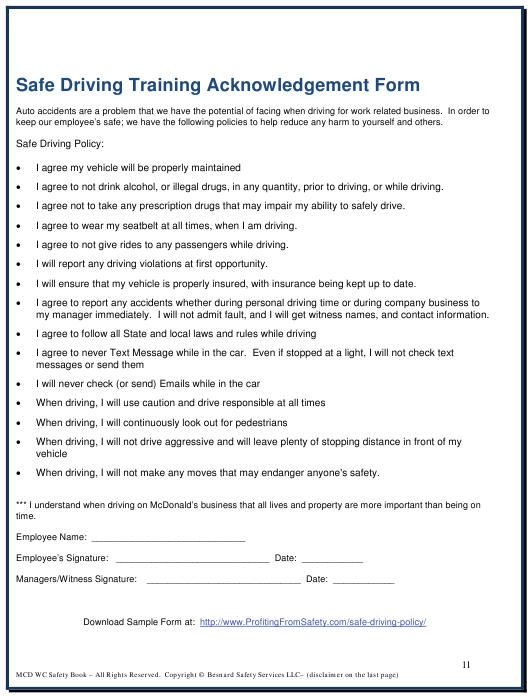 """Safe Driving Training Acknowledgement Form"" Download Pdf"