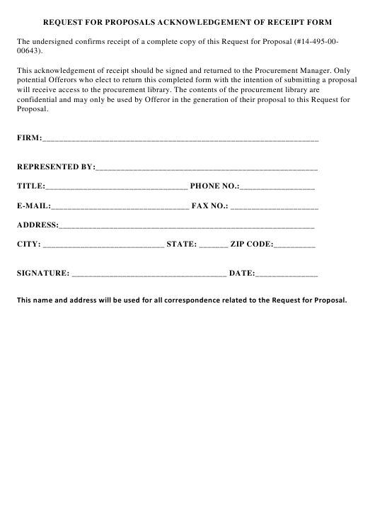 """Request for Proposals Acknowledgement of Receipt Form"" Download Pdf"