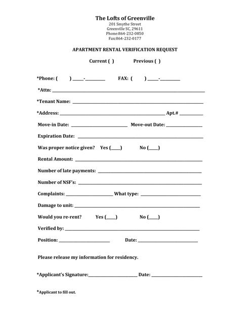 Apartment Rental Verification Request Form Download Pdf