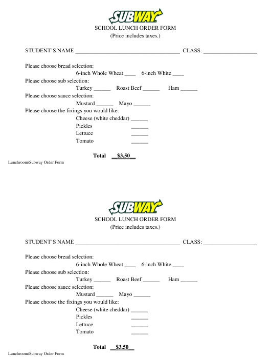 """School Lunch Order Form - Subway"" Download Pdf"