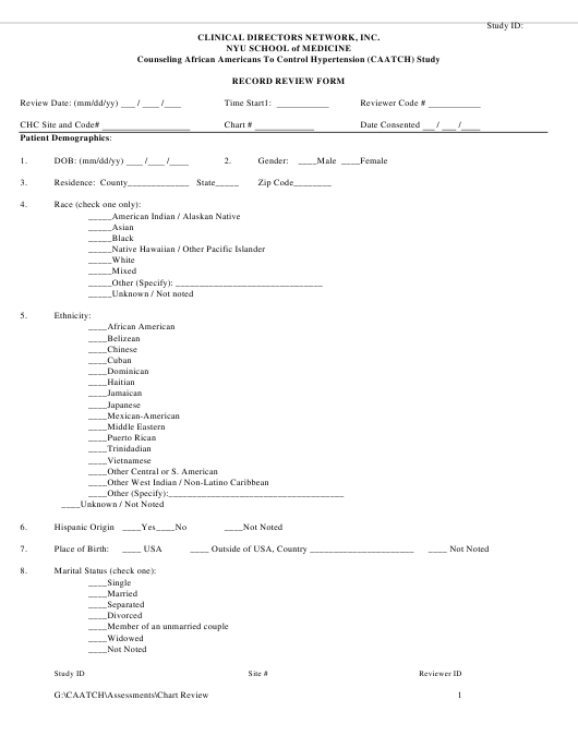 """""""Record Review Form - Clinical Directors Network"""" Download Pdf"""