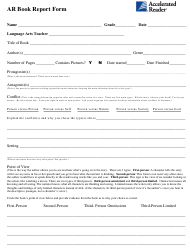"""Ar Book Report Form Template - Accelerated Reader"""