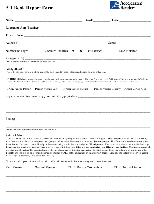 """""""Ar Book Report Form Template - Accelerated Reader"""" Download Pdf"""