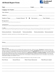 Ar Book Report Form Template - Accelerated Reader