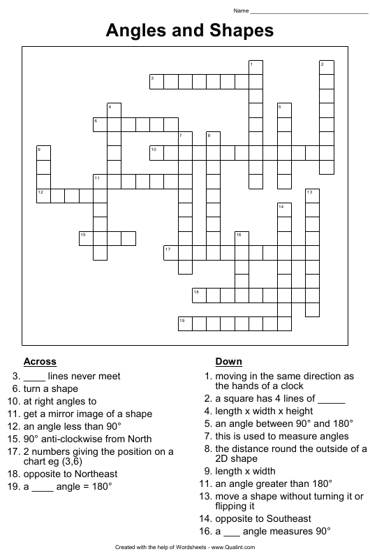"""""""Angles and Shapes Crossword Puzzle Template With Answers, Angles and Shapes Word Search Puzzle Template With Answers"""" Download Pdf"""