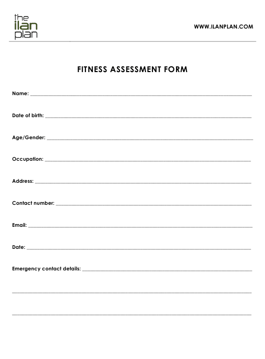 """""""Fitness Assessment Form - the Ilan Plan"""" Download Pdf"""
