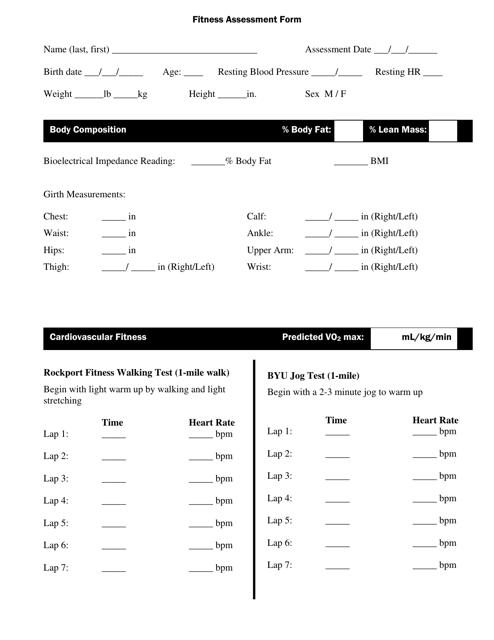 """Fitness Assessment Form"" Download Pdf"