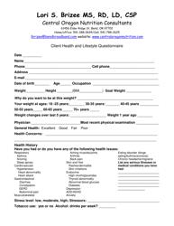 """""""Client Nutrition Assessment Form - Central Oregon Nutrition Consultants"""""""