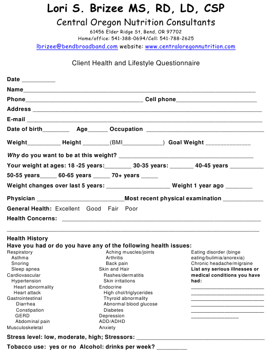 """Client Nutrition Assessment Form - Central Oregon Nutrition Consultants"" Download Pdf"