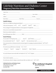 """Pregnancy Nutrition Assessment Form - Lifehelp Nutrition and Diabetes Center"""